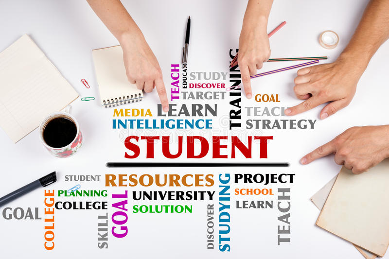 STUDENT word cloud. The meeting at the white office table.  stock photo