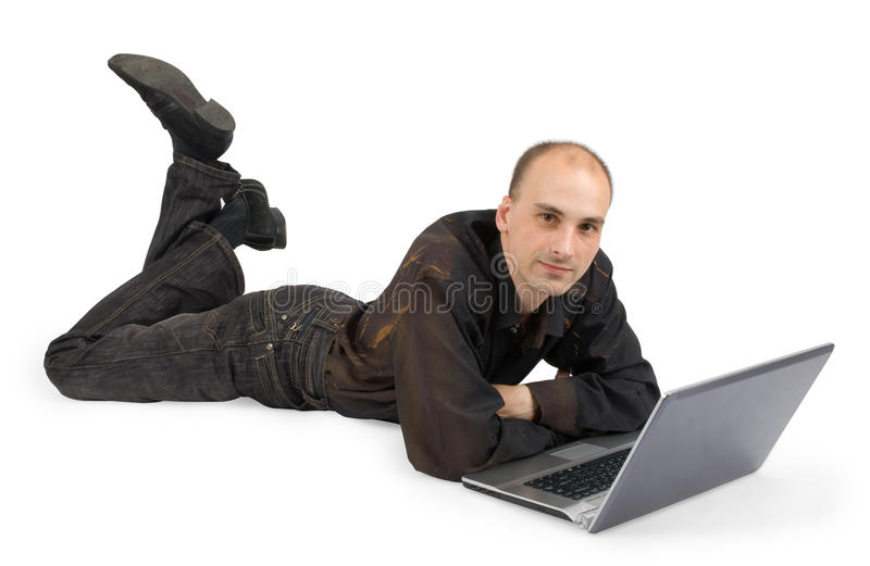 A student that work with a laptop stock photos