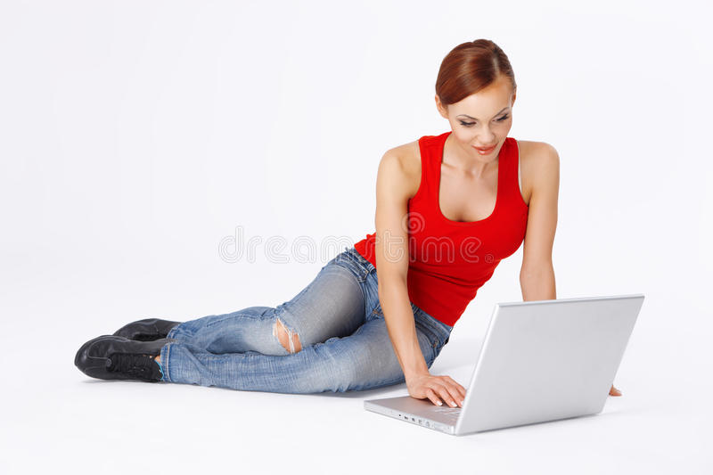 Student Working On Her Laptop Stock Image