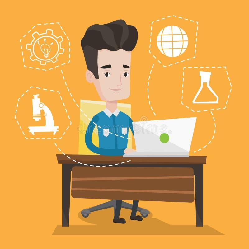 Student working on laptop vector illustration. Student sitting at the table and working on laptop. Student working on laptop connected with icons of school royalty free illustration