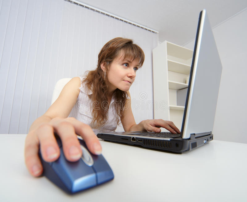 Download Student Works With A Laptop To Internet Stock Image - Image: 12879761
