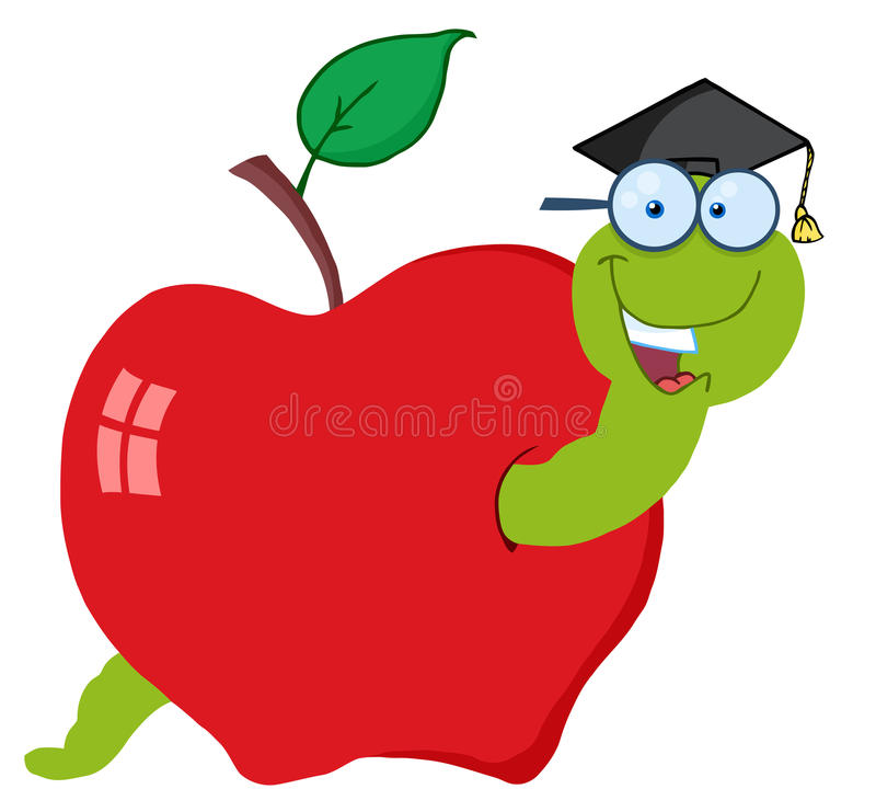 Download Student worm in an apple stock vector. Illustration of larva - 19765340