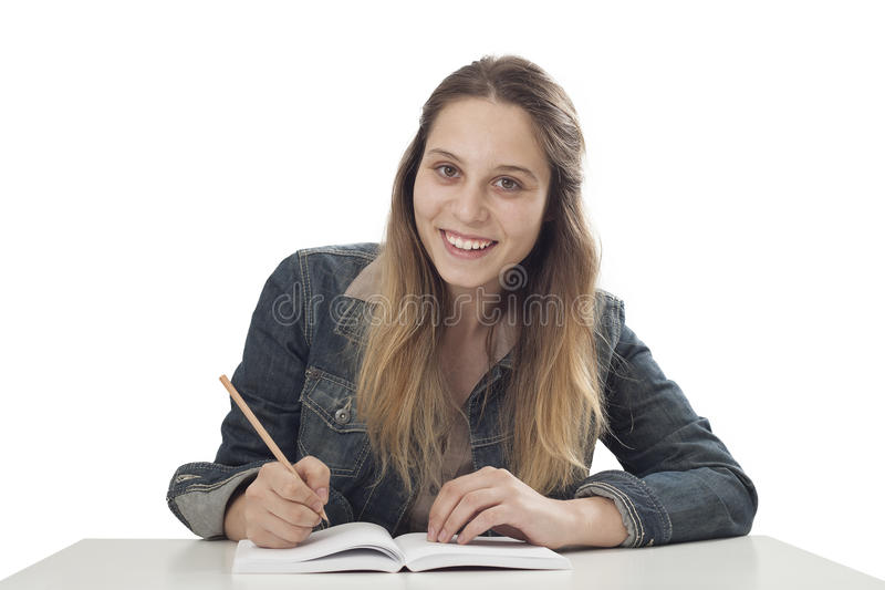 Student young girl studying stock image