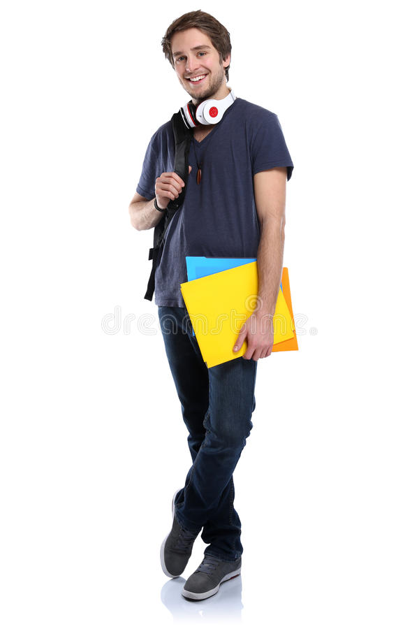 Student young man full body portrait people isolated. On a white background stock photography