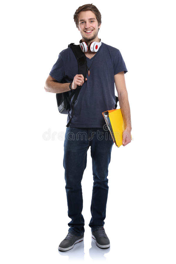 Student young man full body portrait smiling people isolated. On a white background stock image