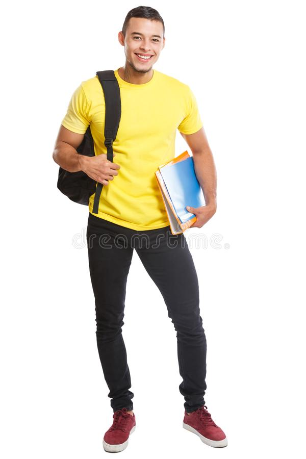 Student young man full body portrait smiling people isolated on white. Student young man full body portrait smiling people isolated on a white background royalty free stock images