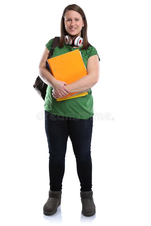 Student young woman full body portrait smiling people isolated. On a white background royalty free stock photo