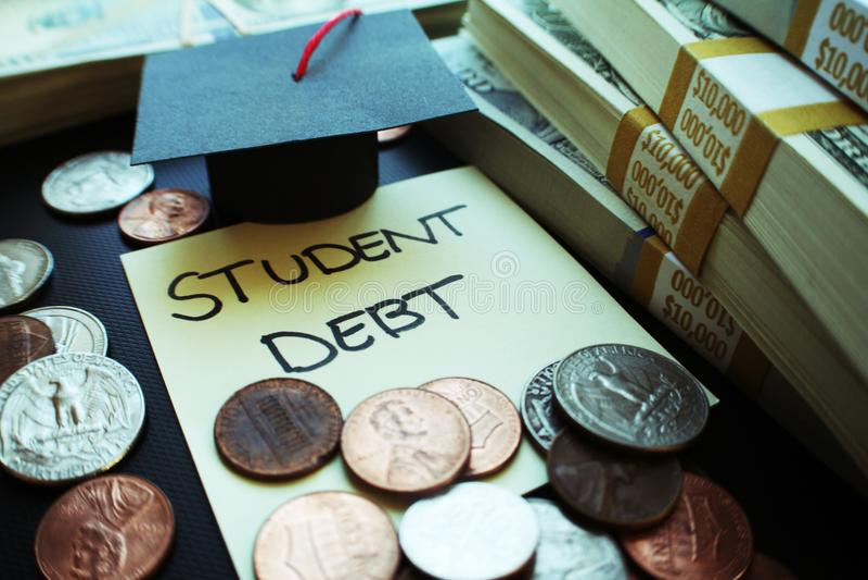 Studenta Collegu Pożyczkowego długu zapasu fotografia zdjęcia royalty free