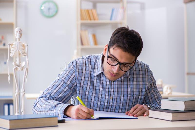 Studenta medycyny studiowanie w sala lekcyjnej fotografia royalty free