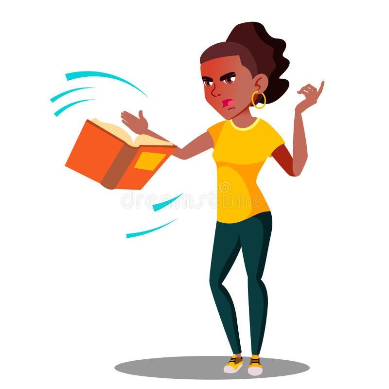 Studente arrabbiato In Stress Throws via un vettore del libro Illustrazione isolata illustrazione di stock