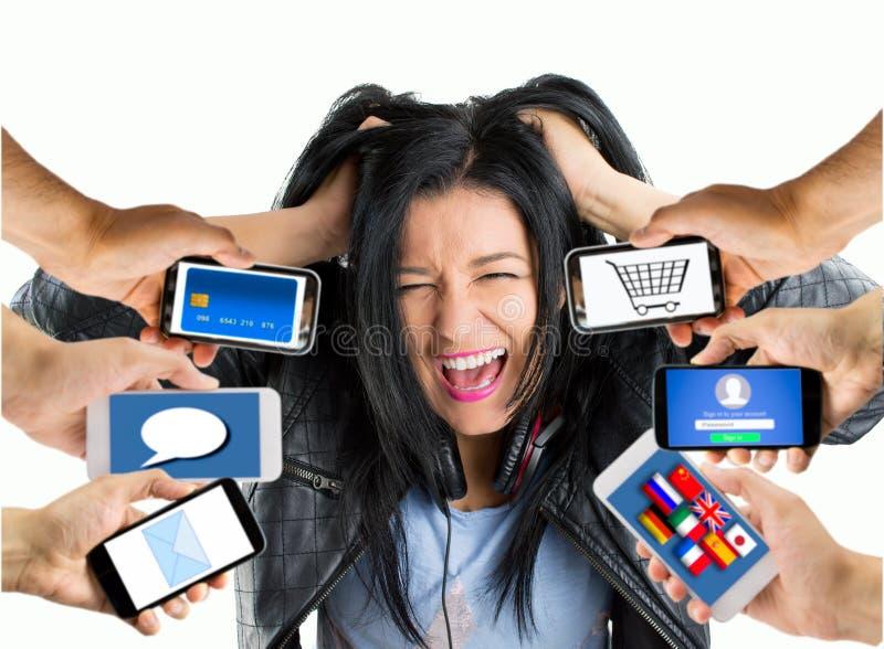 Studente caricato con molte applicazioni immagine stock