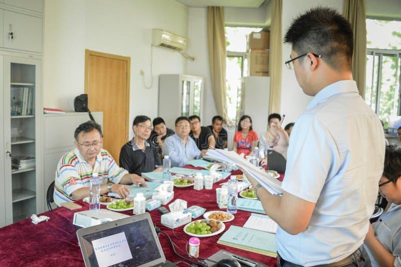 Studente cinese durante la presentazione fotografia stock libera da diritti