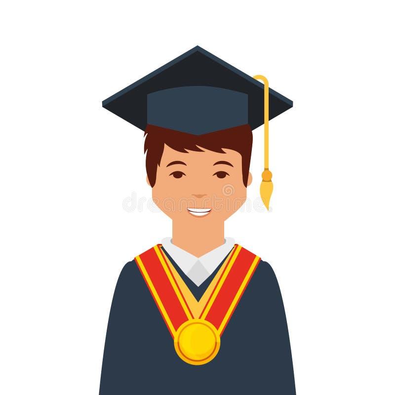 studente con l'uniforme di graduazione illustrazione di stock