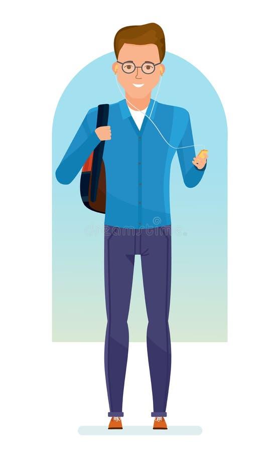 Studente con lo zaino sulle sue spalle, musica d'ascolto in giocatore illustrazione di stock