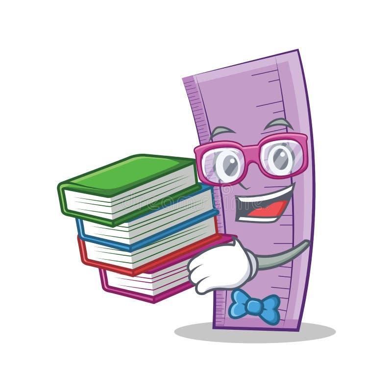 Studente con stile del fumetto del carattere del righello del libro royalty illustrazione gratis