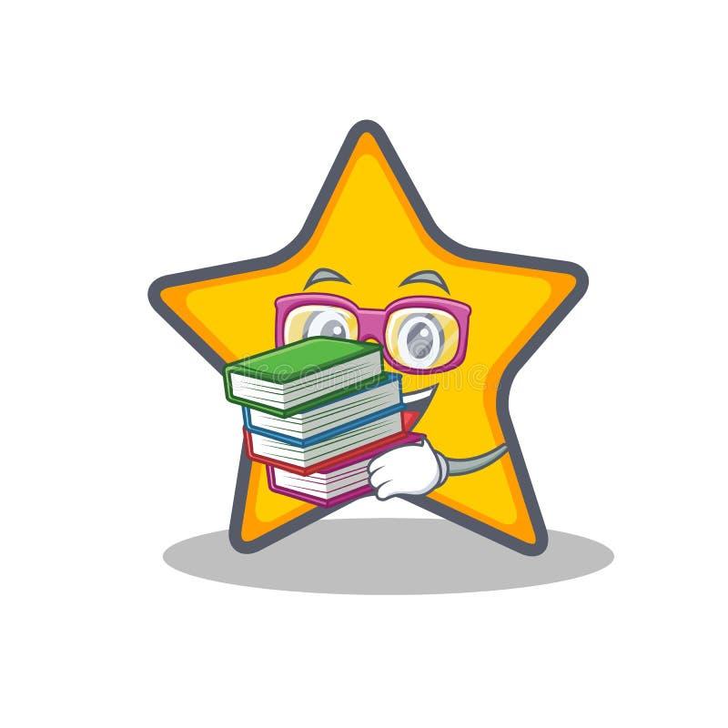 Studente con stile del fumetto del carattere della stella del libro illustrazione vettoriale