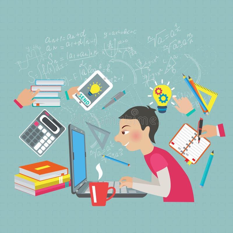 Studente Concept di matematica illustrazione vettoriale
