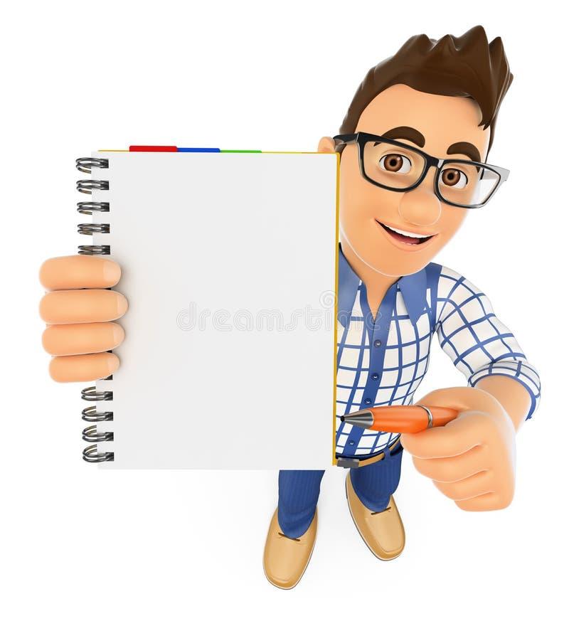 studente 3D con un blocco note in bianco e una penna illustrazione di stock