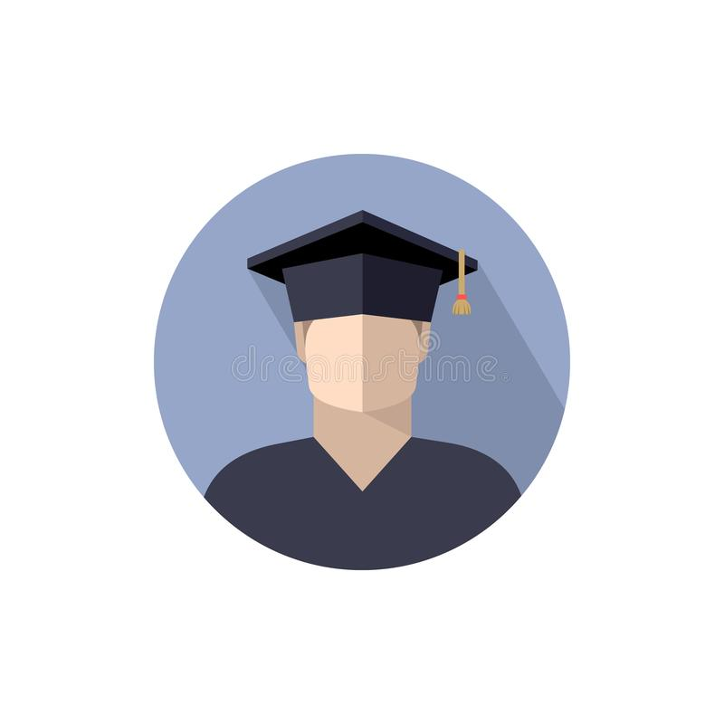 studente del ragazzo in cappuccio laureato, icona, segno, logo il colore ha isolato l'immagine in un cerchio, isolato illustrazione vettoriale