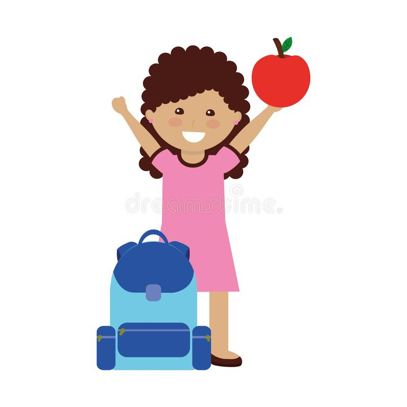Studente della bambina con la borsa di scuola e la frutta della mela illustrazione di stock