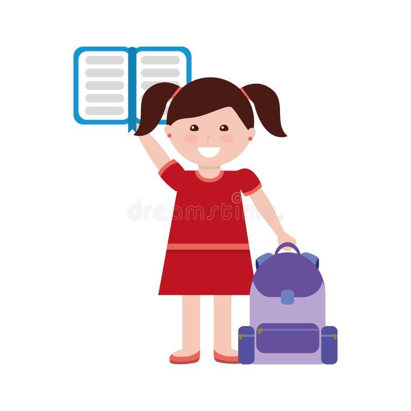 Studente della bambina con la borsa ed il taccuino di scuola illustrazione vettoriale