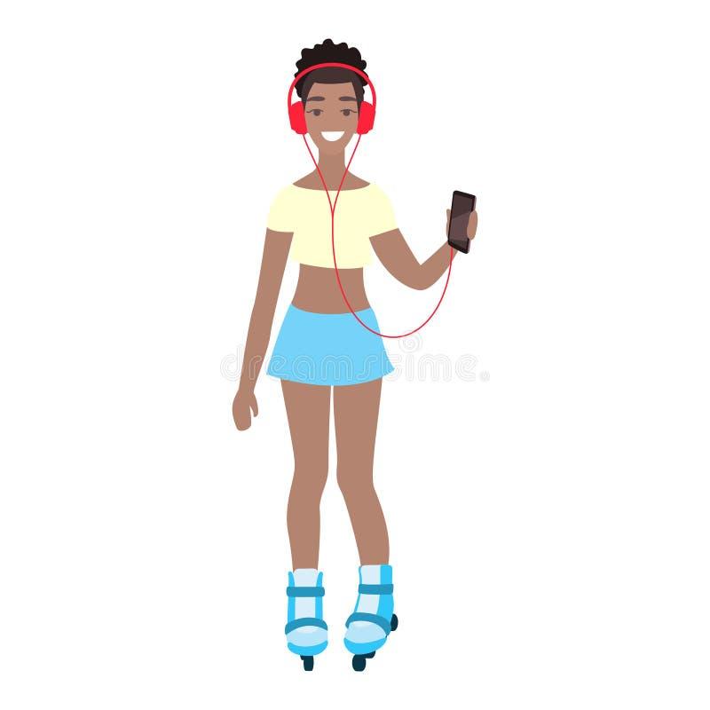 Studente di college femminile afroamericano ascoltare musica in cuffie Pattinaggio a rotelle felice della ragazza ed ascoltare l' royalty illustrazione gratis