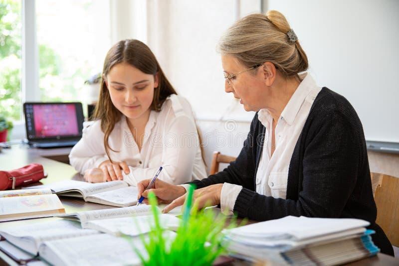 Studente di college Has Individual Tuition dall'insegnante In Library fotografie stock