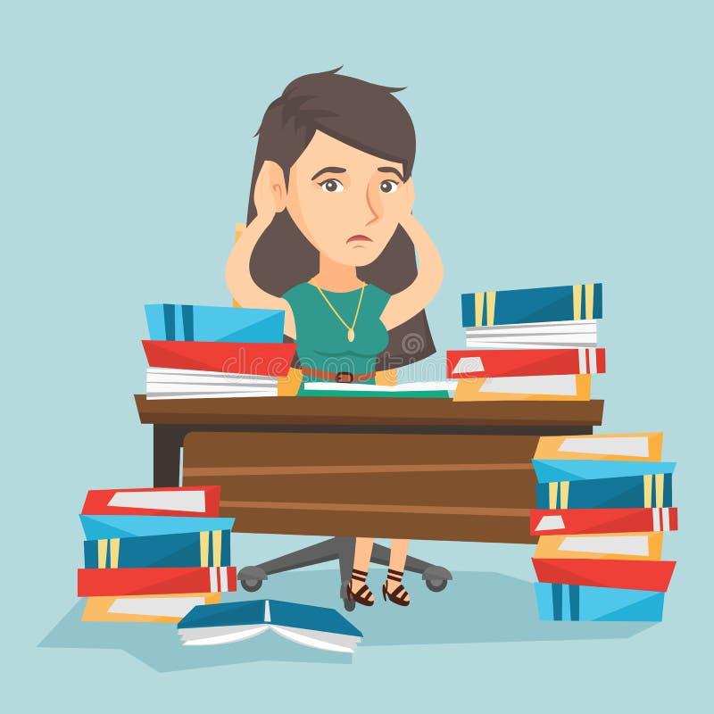 Studente disperato che studia con molti manuali illustrazione vettoriale