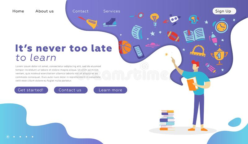 Studente felice Character con la pagina di atterraggio del libro Concetto di graduazione di istruzione per il sito Web Illustrazi illustrazione vettoriale
