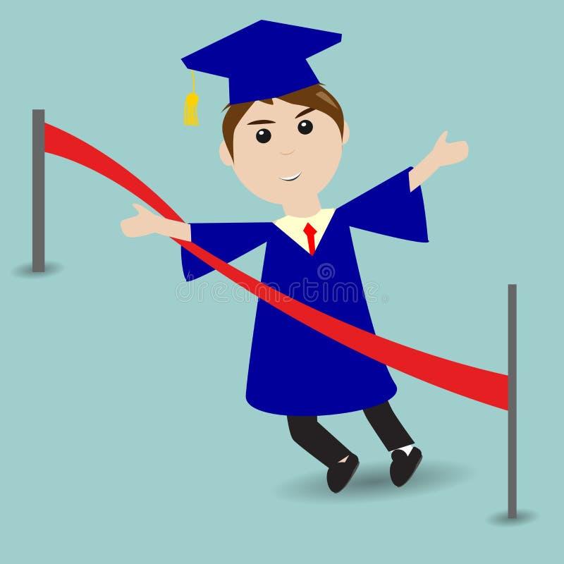 Studente graduato che corre all'arrivo illustrazione di stock