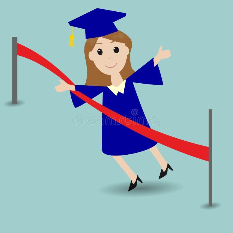 Studente graduato che corre all'arrivo royalty illustrazione gratis
