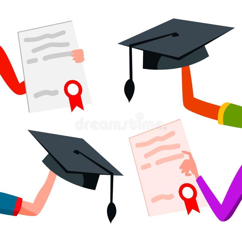 Studente Hands Raised Up con il vettore dei cappucci e dei diplomi di graduazione Illustrazione isolata illustrazione vettoriale