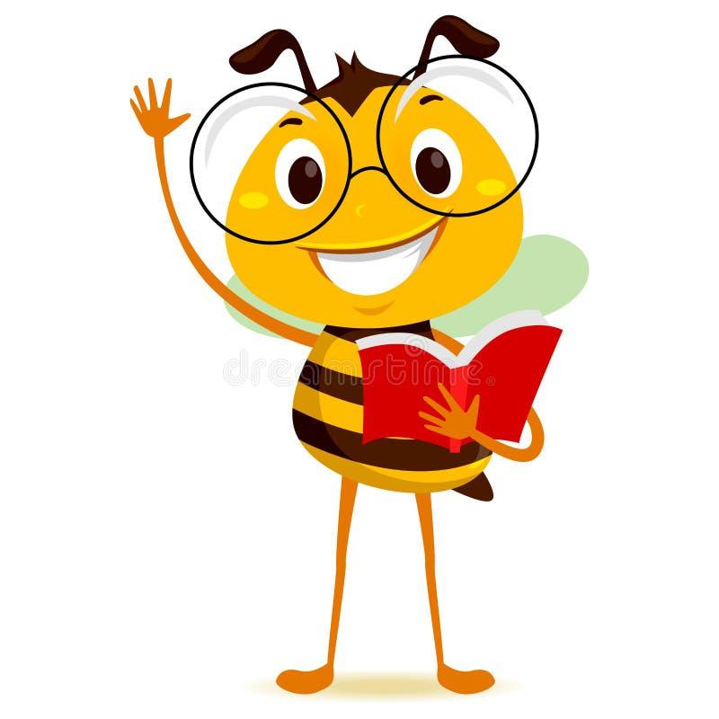 Studente Holding dell'ape un libro mentre sollevando la sua mano royalty illustrazione gratis