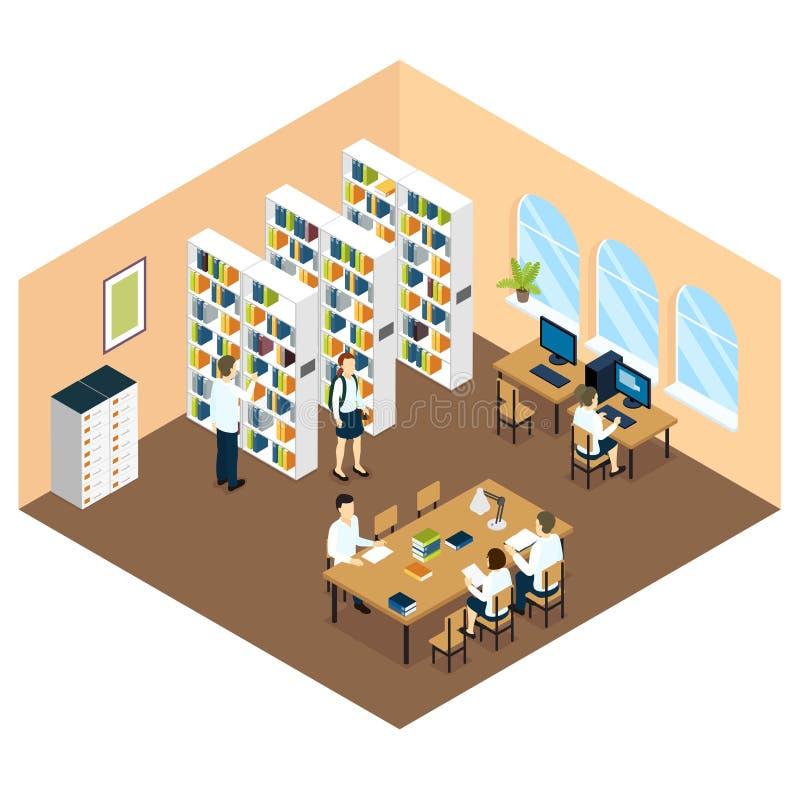 Studente Library Isometric Design illustrazione di stock
