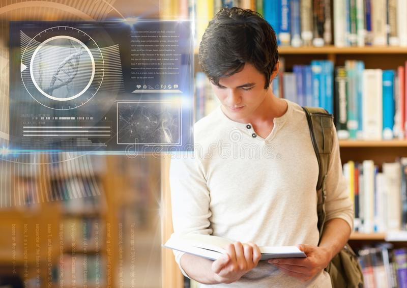 Studente maschio che studia con il libro e la sovrapposizione dei grafici dell'interfaccia di istruzione di scienza illustrazione vettoriale