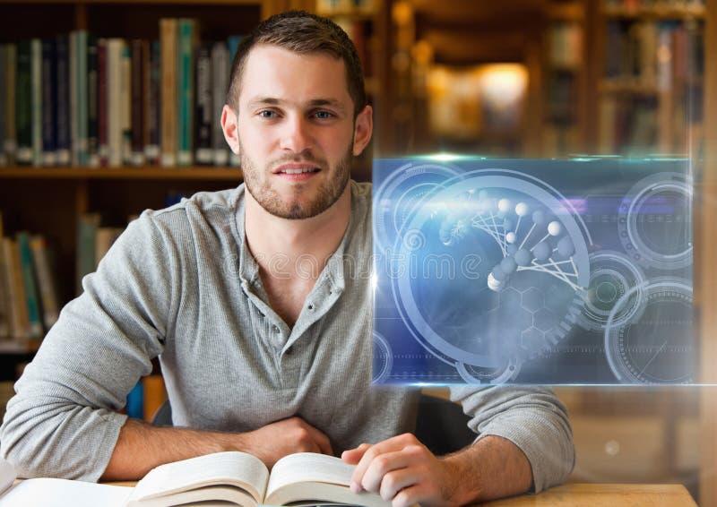 Studente maschio che studia con il libro e la sovrapposizione dei grafici dell'interfaccia di istruzione di scienza illustrazione di stock