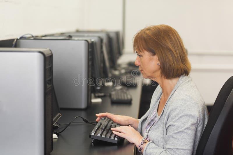 Studente maturo femminile concentrato che si siede nella classe del computer immagine stock libera da diritti