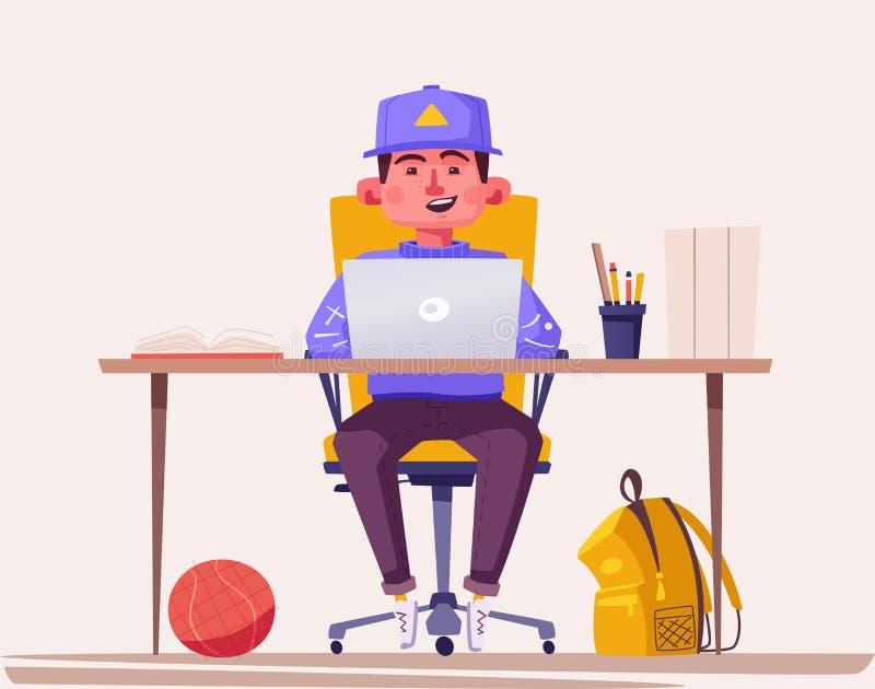 Studente o scolaro che studia al computer Illustrazione di vettore del fumetto illustrazione vettoriale