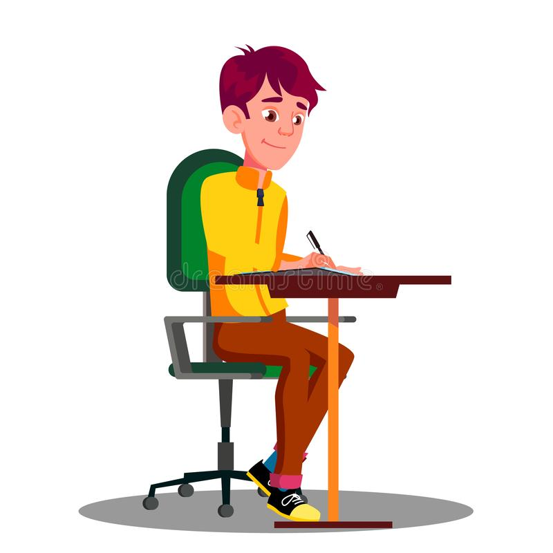 Studente With Pen In Hand Writing Exams sul foglio di carta il vettore Illustrazione isolata illustrazione di stock