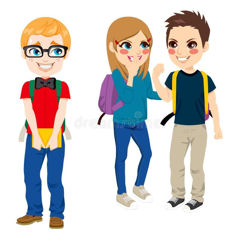 Studente Suffering Bullying del nerd illustrazione di stock