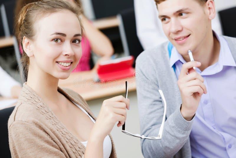 Studenten bij les royalty-vrije stock afbeeldingen