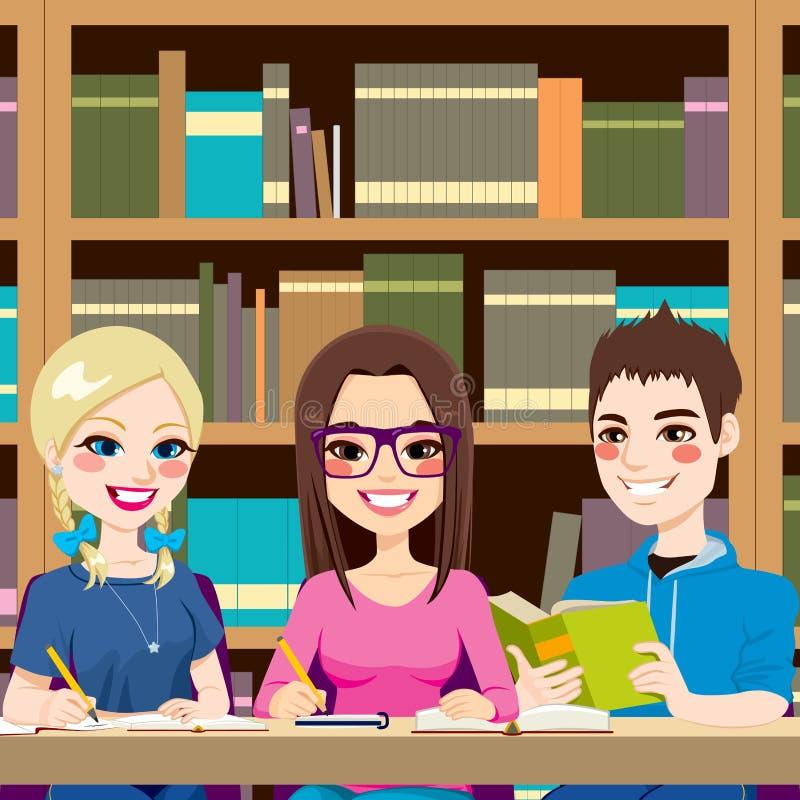 Studenten die Bibliotheek bestuderen royalty-vrije illustratie