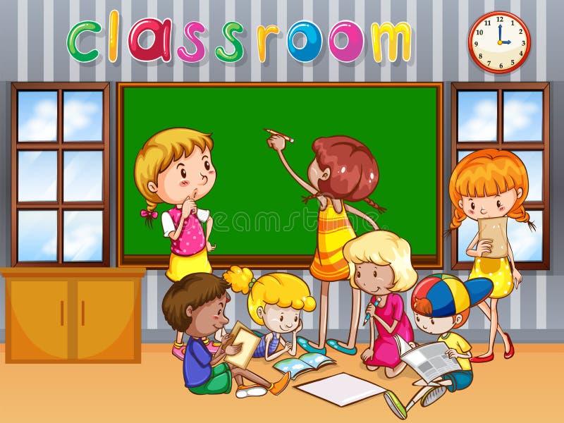 Studenten die in de klasse leren vector illustratie
