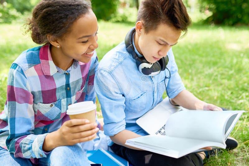 Studenten, die draußen Hausarbeit tun stockfotos