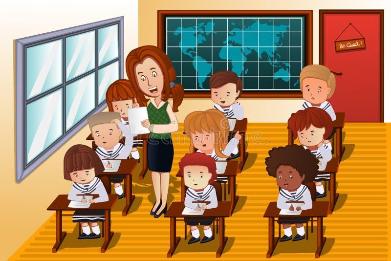 Studenten die een examen nemen stock illustratie