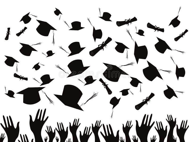 Studenten die en kappen een diploma behalen werpen royalty-vrije illustratie