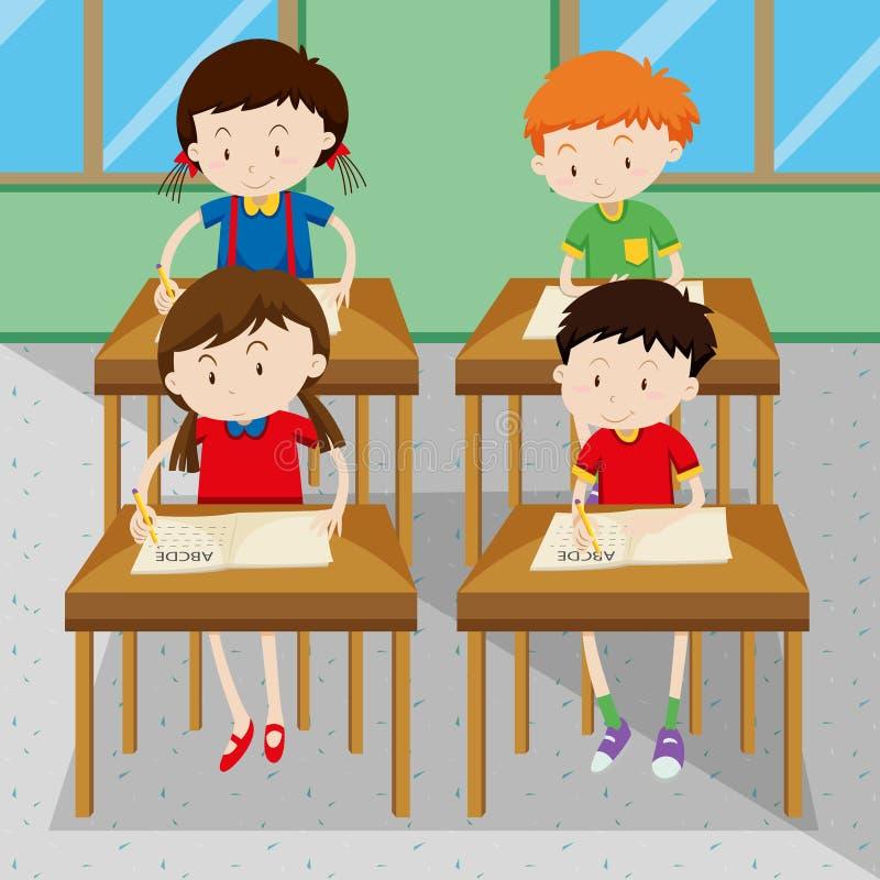 Studenten die en op school schrijven leren royalty-vrije illustratie