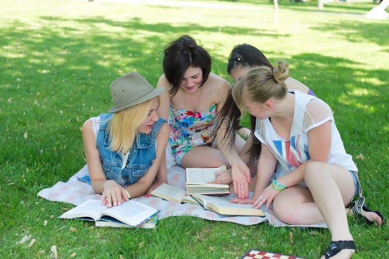 Studenten die les hebben openlucht stock foto's