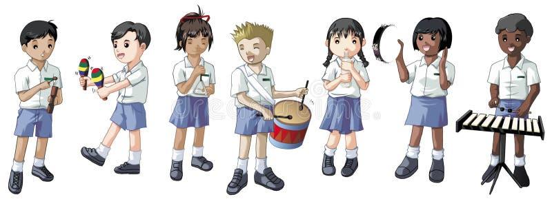 Studenten die muzikale instrumenten spelen vector illustratie