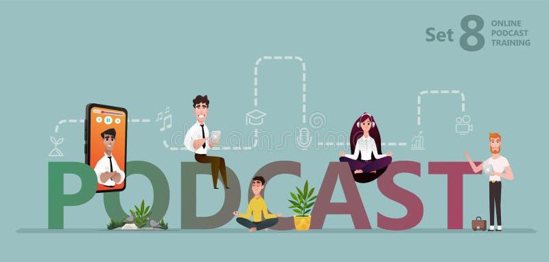 Studenten die op geregistreerde podcast opleiding letten royalty-vrije illustratie